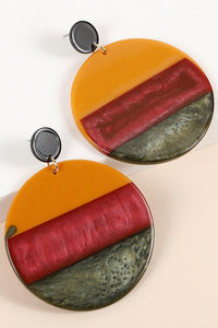 Round Striped Acetate Earrings
