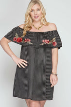 Off Shoulder Embroidered Striped Plus Size Dress