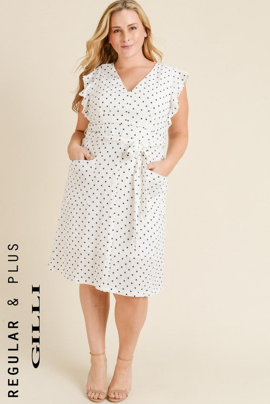Plus Polka Dot Tie Dress