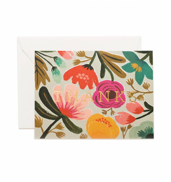 Gold Floral Thank You Card