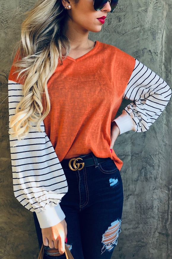 Stripe Bell Sleeve V Neck Top