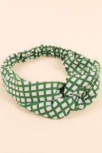 Grid Print Twisted Headwrap