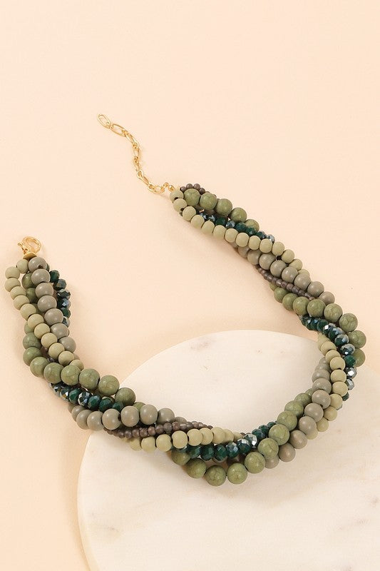 Glass And Wood Beaded Necklace