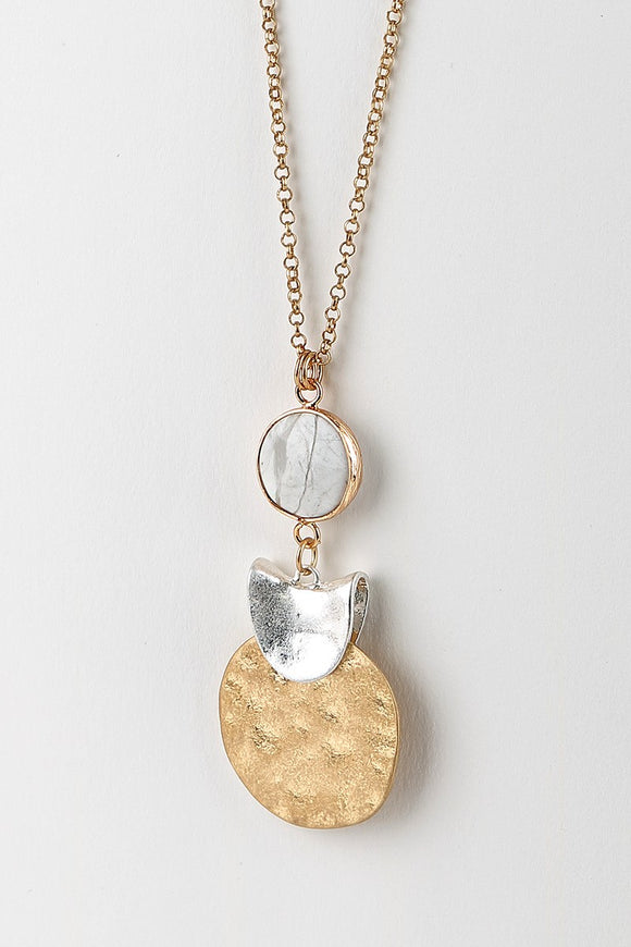Natural Stone & Coin Necklace