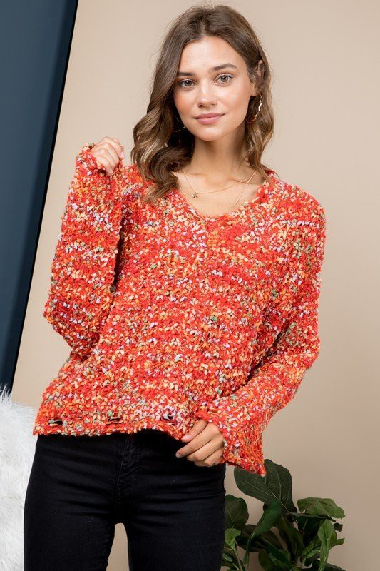 Confetti Print V-Neck Sweater