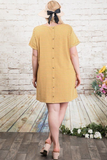 Curvy Girl Cuff Sleeve Button Up Dress