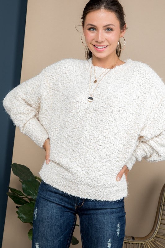 Mock Neck Faux Shearling Sweater