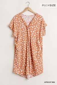 Curvy Girl V Neck Dalmatian Print Dress