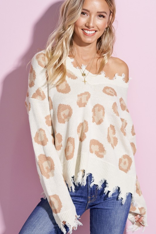 V-Neck Distressed Leopard Sweater