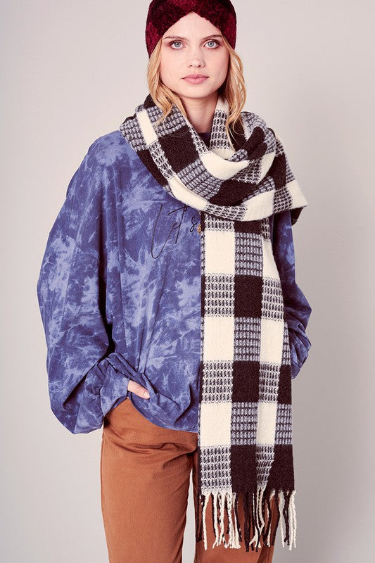 Gingham Check Soft Woven Fringed Oblong Scarf