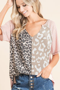 Pointelle Knit Top with Front Print Block