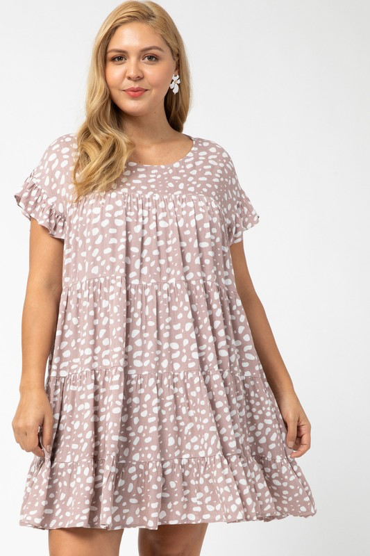 Curvy Girl Spotted Tiered Dress