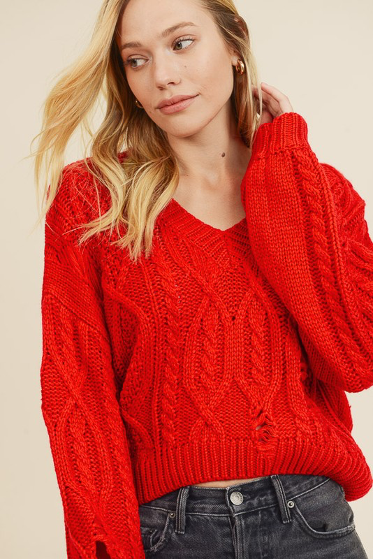 Distressed Cable Knit Crop Sweater