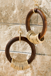 Wood with Metal Ring Earring