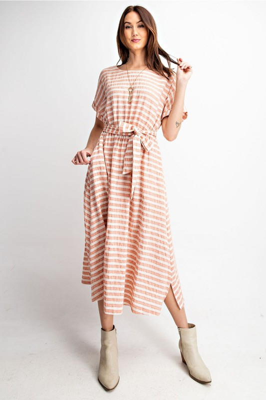 Striped Tie Waist Midi Dress