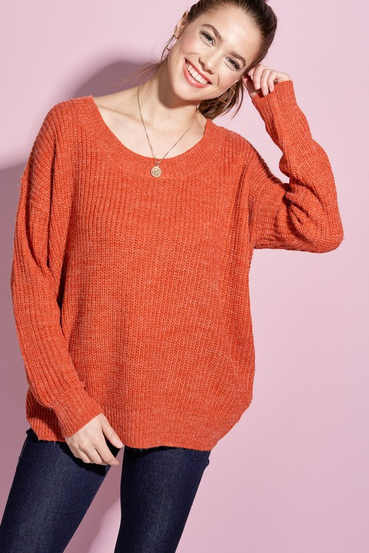 Twist Back Keyhole Sweater