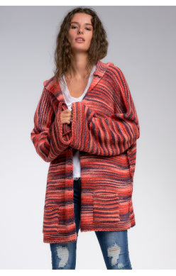 OS Striped Hooded Cardigan