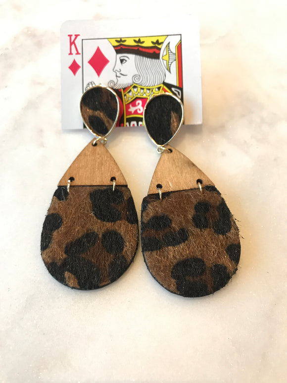 Leopard Teardrop Earrings