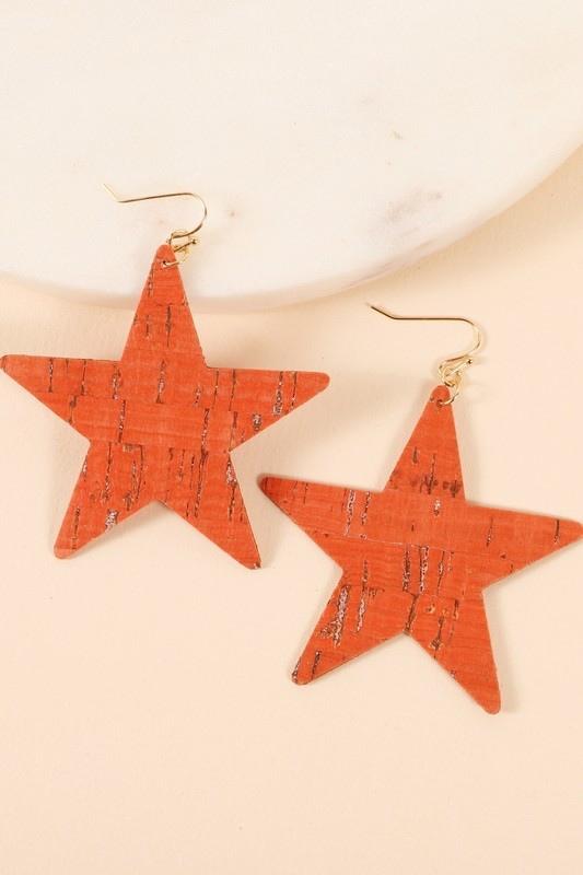 Star Shaped Leather Earring