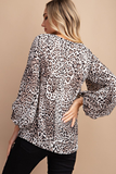 Animal Print Balloon Sleeve Top