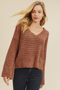 Perforated Chenille Sweater