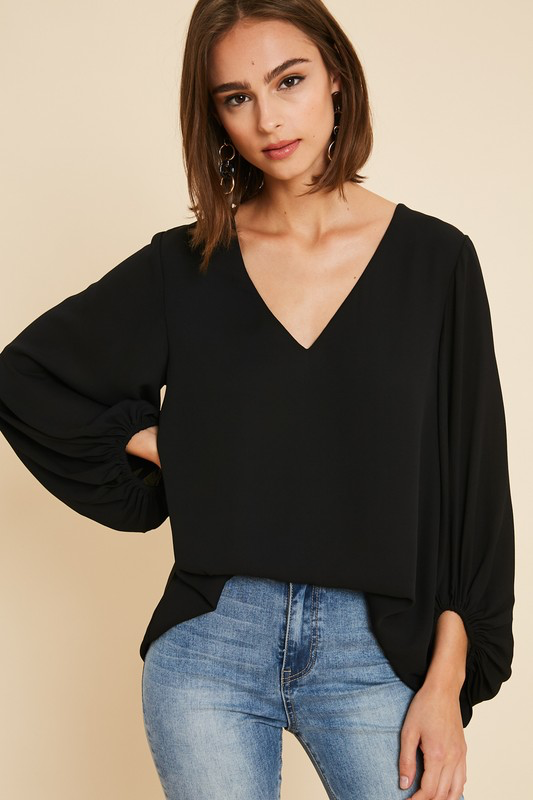 Balloon Sleeve V-Neck Blouse