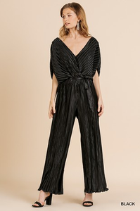 Satin Pleated Ruffle Jumpsuit