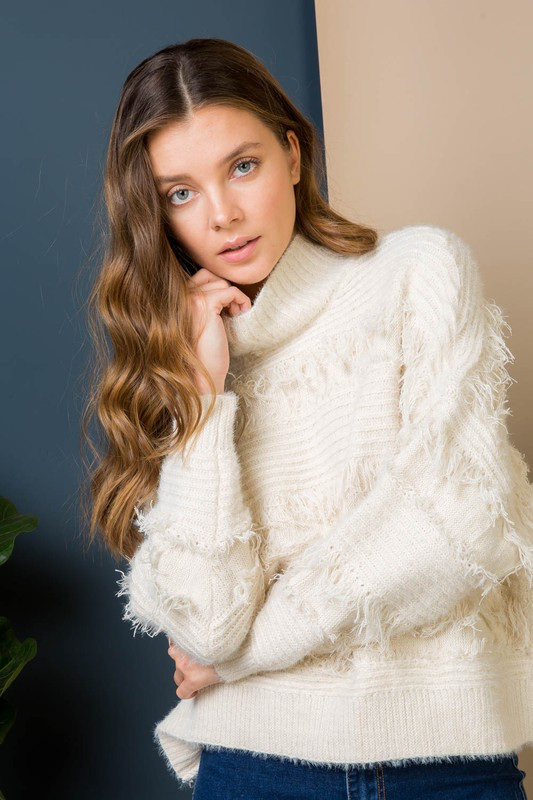 Turtle Neck Fringe Sweater