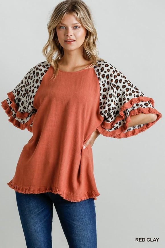Animal Print Layered Bell Sleeve W Frayed Hem Top