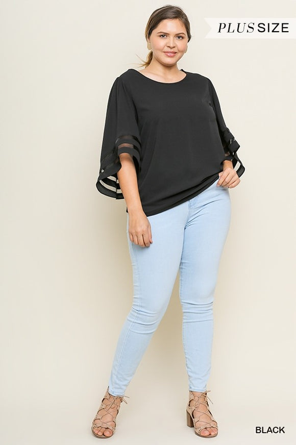Curvy Girl Bell Sleeve Round Neck Top with Mesh Detail
