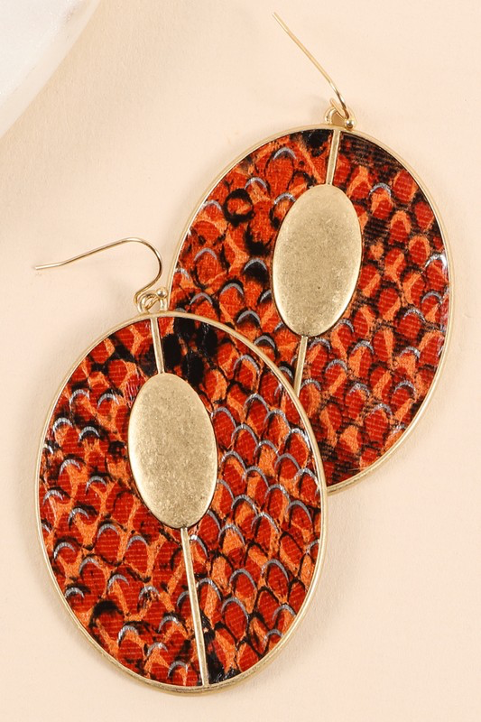 Snake Skin Leather Earrings