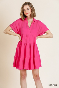 V-Neck Collared Ruffle Tier Dress