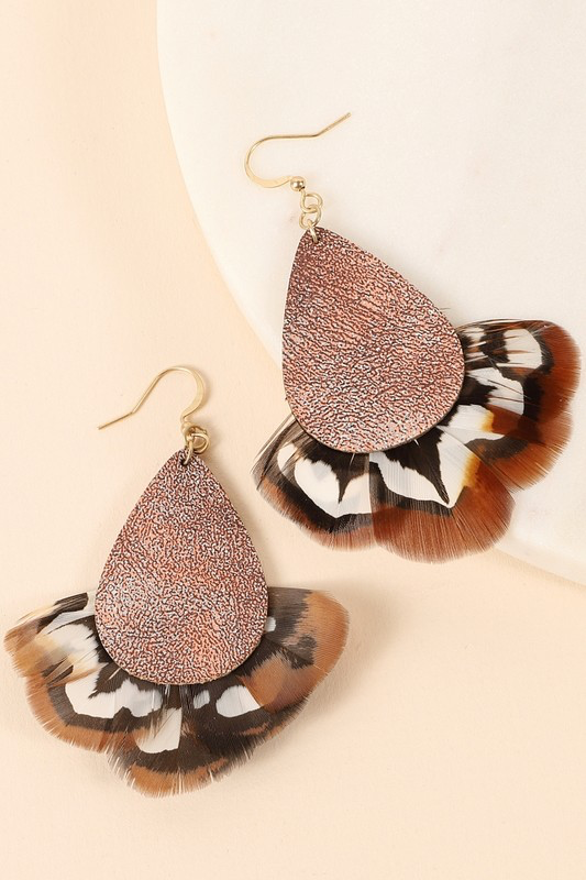 Feather Detailed Leather Earrings