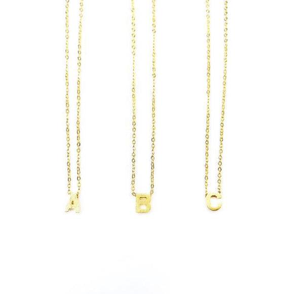 18K Gold Plate Initial Necklace