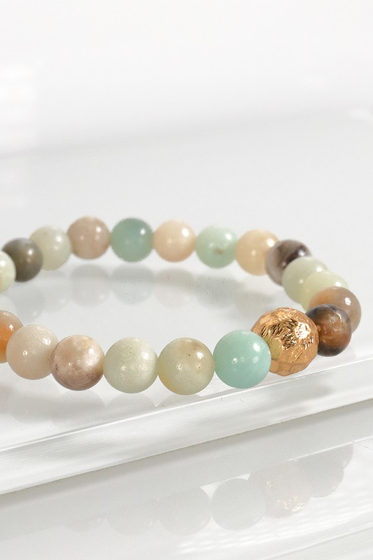 Stone Stretch Bracelet with Textured Metal Bead