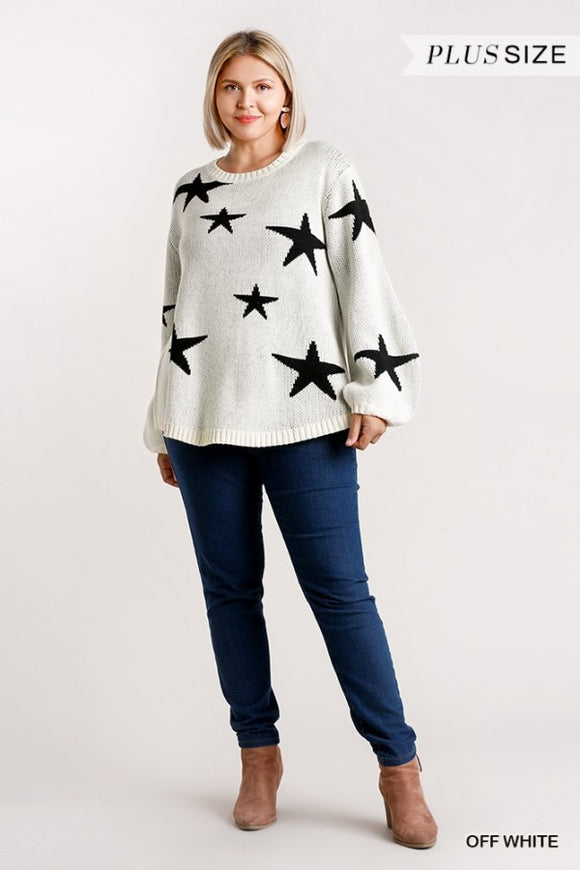 Curvy Girl Star Pattern Puff Sleeve Pullover