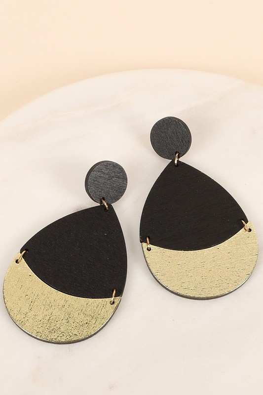 Tear Drop Metal Wood Earrings