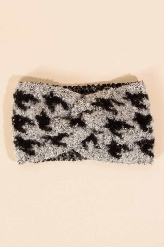 Houndstooth Soft Twisted Headband