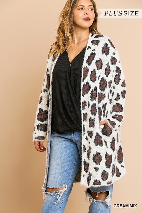 Curvy Girl Long Animal Print Fuzzy Cardigan