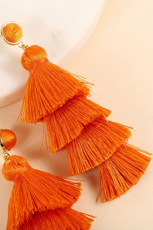 Multi Layered Tassel Earring