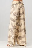 Feather Print Wide Leg Pants