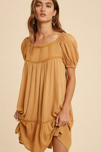 Square Neck Smocked Ruffled Dress