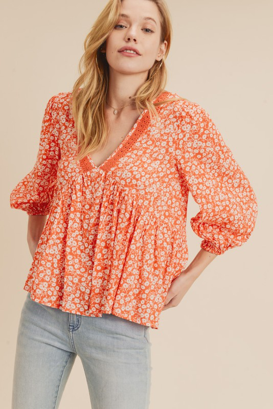 Ditzy Floral Babydoll Blouse