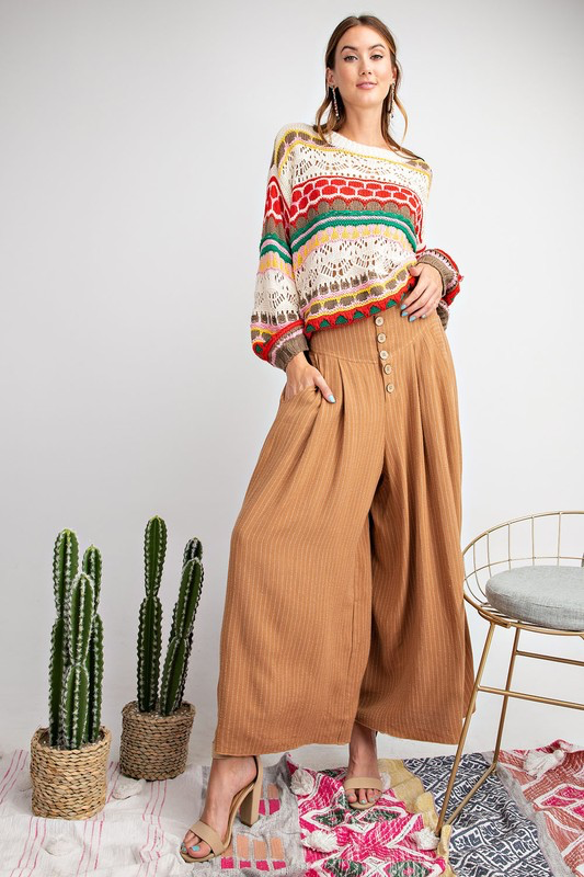 Striped Wide Leg Plazzo Pants