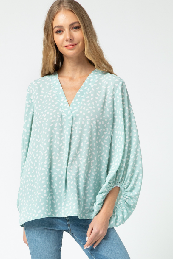 Spotted Bubble Sleeve Top