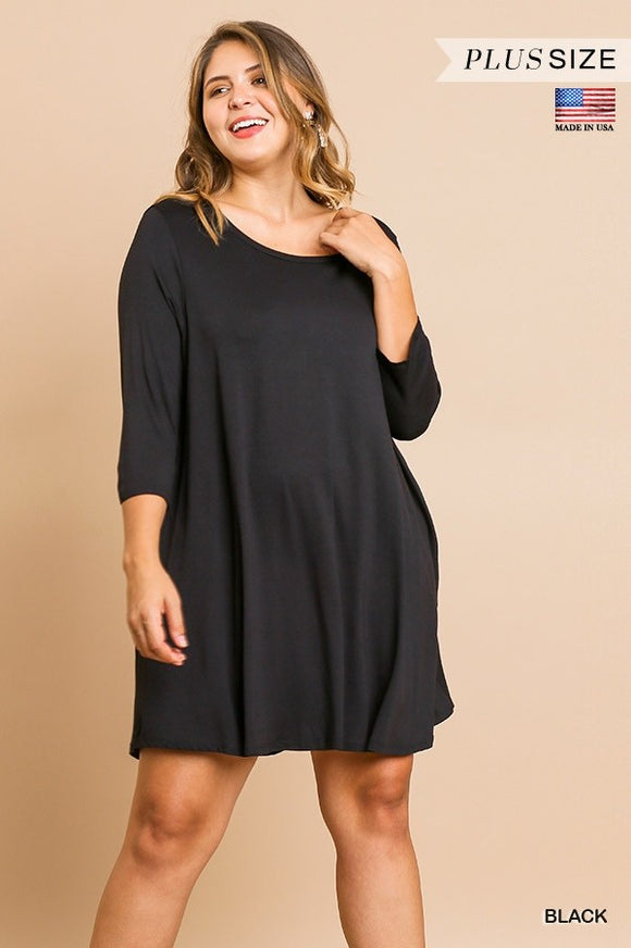 Curvy Girl Scoop Neck T-Shirt Dress w Scalloped Hem