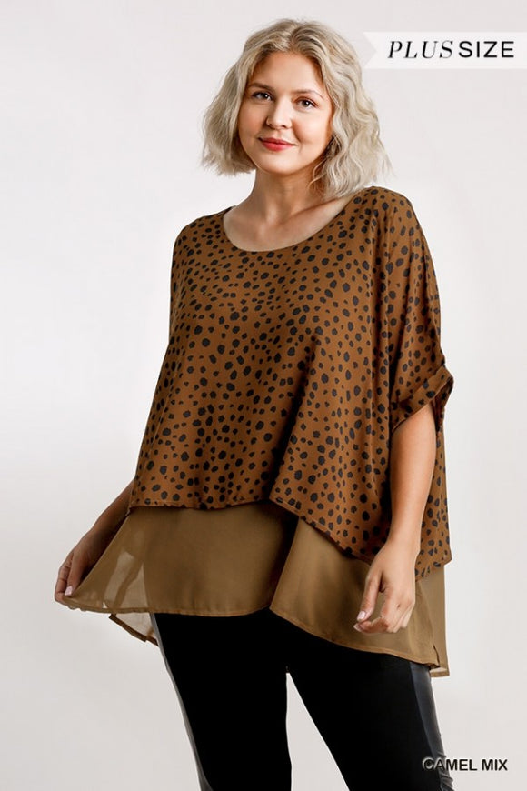 Dalmatian Print Short Folded Sleeve Layered Tunic