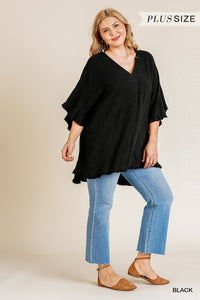 Curvy Girl Bell Sleeve V-Neck Top