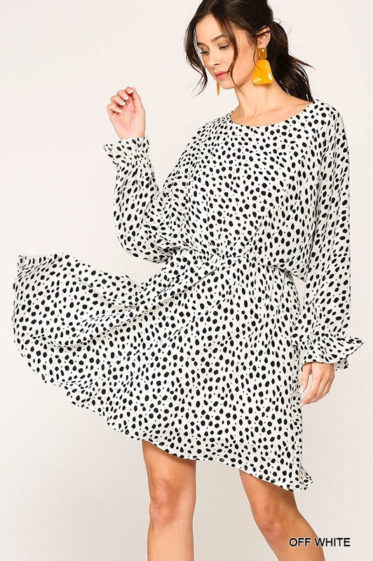 Balloon Sleeve Spotted Dress