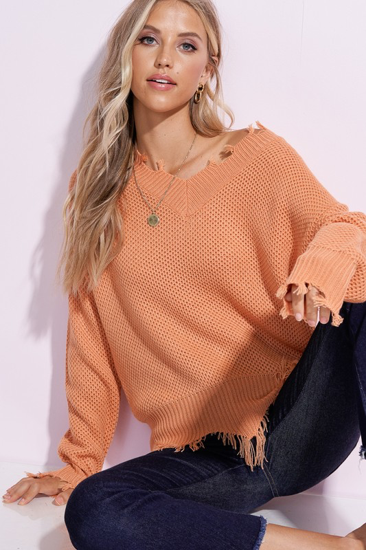 V-Neck Raw Hem Sweater
